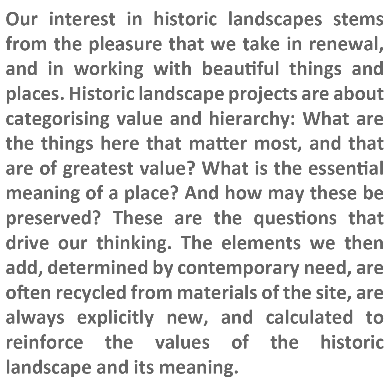 FFLO text describing our approach to historic landscapes