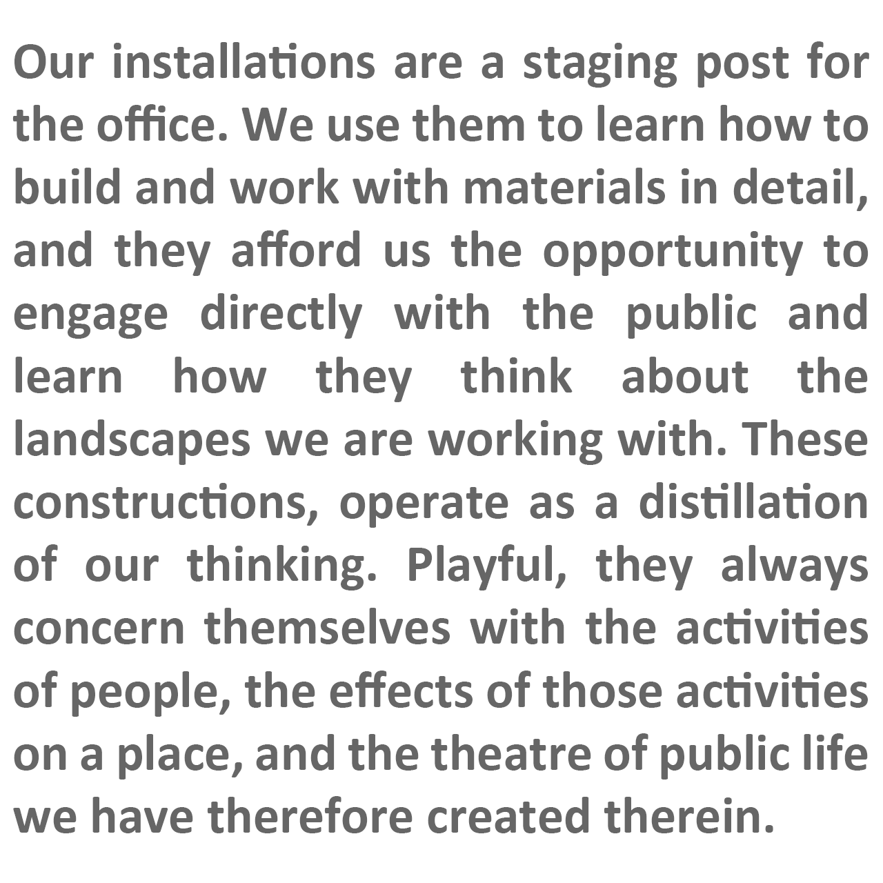 FFLO text describing our approach to installations